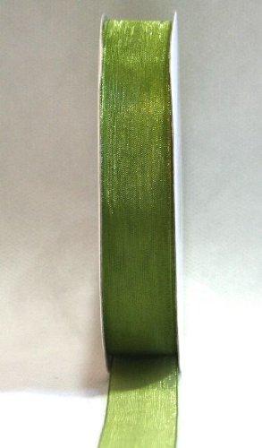 1 bobine Rouleau de 50 mètres de ruban organza 20 mm Coloris bomboniere haute qualité 20 mm vert