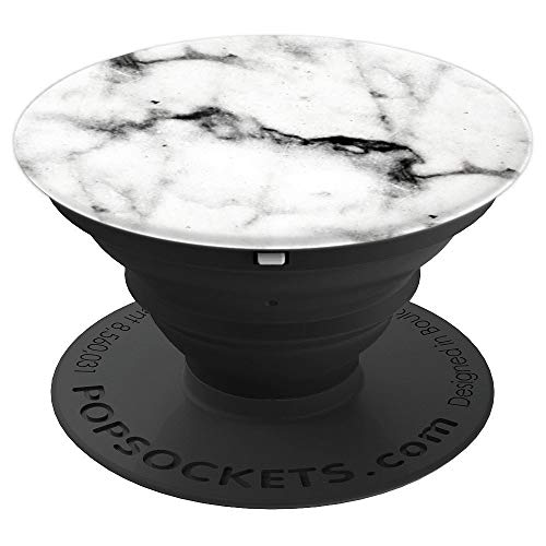 PopSockets: Luxurious Black and White Marble PopSockets Grip and Stand for Phones and Tablets