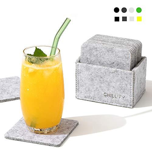 chillify – Set de 12 Dessous de Verres Design en Feutre avec boîte de Rangement – Lavables, absorbants, antidérapants, résistants à la Chaleur – sous-Verres carrés pour Table, 10cm, Gris clairs