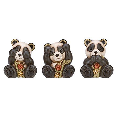"""THUN ® - Tris panda """"non vedo, non sento, non parlo"""" piccolo - Ceramica - h 10 cm - Linea I Classici"""