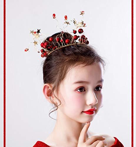 Meisjes 'Volledige Cirkel Kroon Headdress Wijn rood Children's Headdress Verjaardag Prinses Kroon Studio Foto Fotografie Haaraccessoires