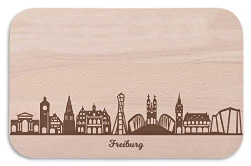 Frühstücksbrettchen Freiburg mit Skyline Gravur - Brotzeitbrett & Geschenk für Freiburg Stadtverliebte & Fans - ideal auch als Souvenir
