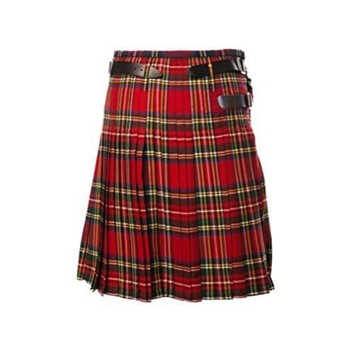 Mxssi Casual Plisado Kilts escocés Hombres Moda Pantalones Cargo Personalidad Pantalones Plaids Patrón Suelta Medio Faldas para Hombre Rojo 3XL