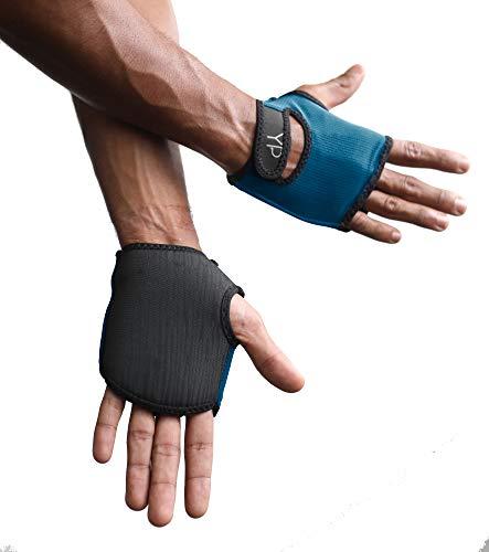 YogaPaws Elite Gepolsterte Yoga-Handschuhe für Damen und Herren, Rutschfester gepolsterter Griff, für Hot Yoga, Vinyasa, Pilates, Barre, SUP, Reisen und schweißtreibende Hände, Pacific Blue, Size 4