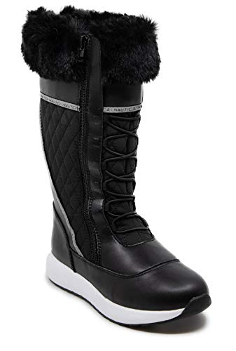 Nautica Women's Everly Cold Weather Snow Boot with Sherpa Fur Collar and Lining-Black-7.5
