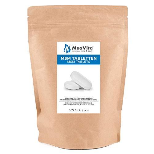 MeaVita MSM Tabletten, 365 Stück (800mg pro Tablette) vegan & ohne Zusätze, Methylsulfonylmethan, organischer Schwefel