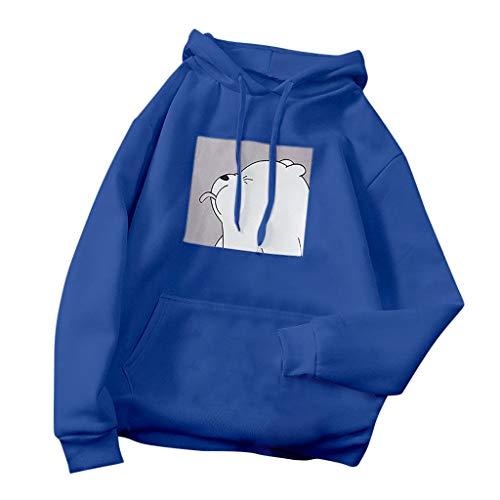 qiaoxiahe Damen Lässiges Hoodie Lange Ärmel Kapuzenpullover Langarm Sport Sweatshirt Kontrastfarbene Kapuze Pullover mit Tasche für Herbst Winter