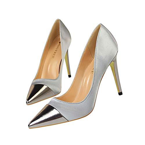 JOEupin Zapatos de tacón para mujer, formales, puntiagudos, sexy, para novia, boda, fiesta, vestido, gris (gris), 35.5 EU