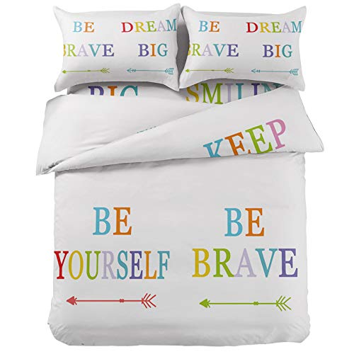 Litter Star Color Gradient Inspirational Text with Arrow Sign 4-Pieces Duvet Cover Bet Set Queen Ultra Soft Bed Quilted Coverlet Bedding Sheet with 2 Pillow Shams, White