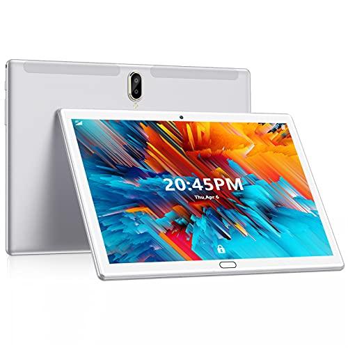 FEONAL Tablet 10 Pulgadas Android 10 4G LTE +WiFi, 4GB RAM+64GB ROM (TF 128GB), Octa-Core, Batería 6000mAh, Tableta con Cámara 13MP+5MP, 1080 FHD IPS, Dual SIM | GPS | OTG | Bluetooth 5.0-Plata
