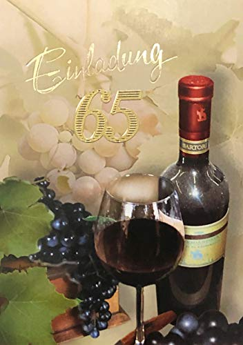 Uitnodigingskaarten 65 verjaardag vrouw man met binnentekst motief rode wijn 10 vouwkaarten DIN A6 staand formaat met witte enveloppen in set verjaardagskaarten uitnodiging 65 verjaardag man vrouw K228