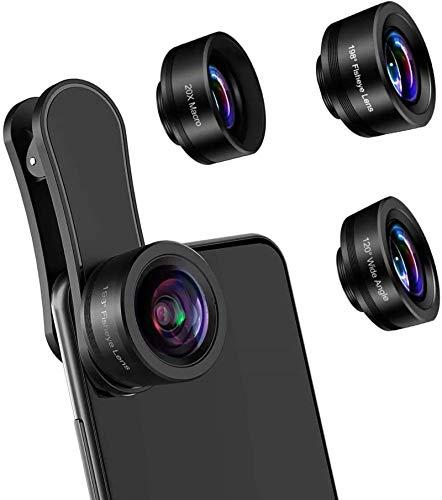Lente de la cámara del teléfono, kit de clip de lente HD para teléfono 3 en 1 Lente macro 20X y lente ojo de pez 198 ° y lente gran angular 120 ° compatible iPhone Samsung y teléfono inteligente