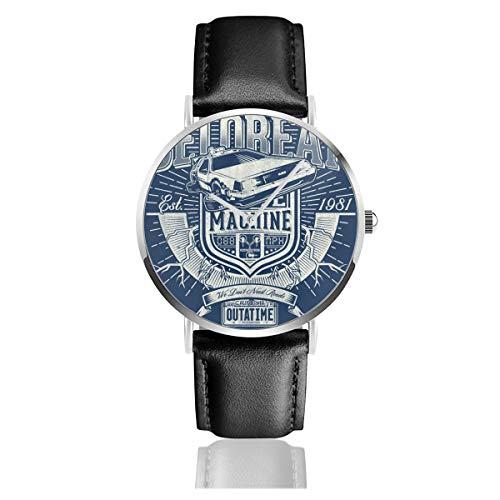 Unisex Business Casual Outatime Delorean Zurück in die Zukunft Uhren Quarz Leder Uhr mit schwarzem Lederband für Männer Frauen Junge Kollektion Geschenk