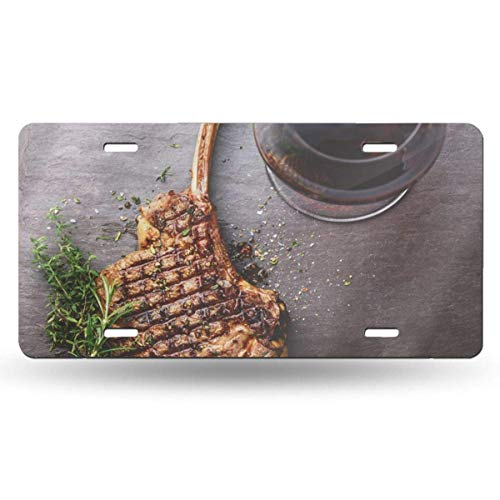 BRIGHT JUNAY Cool Metal License Plate,Above BBQ Grilled Beef Barbecue Veal Rib Steak On Bone and Red Wine Stone Slate Directly Flat Car Front License Plate 6 Inch X 12 Inch