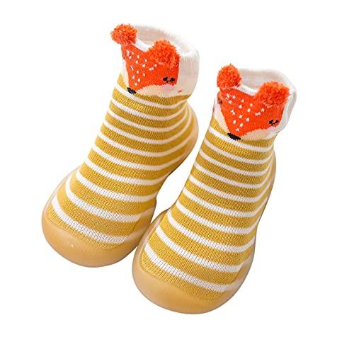 YWLINK Calcetines De Piso para Bebé,Suela De Goma Antideslizante Calcetines De Paso para Bebé De Punto Suave Transpirables Zapatos De Piso Calcetines De Piso con Pantuflas para Interiores