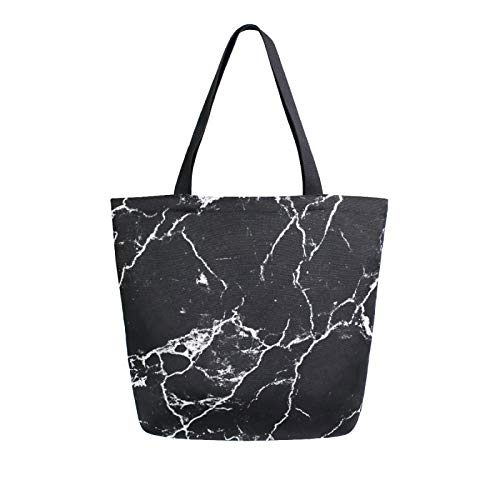 iRoad Women Canvas Bags Black Marble Print Shopping Purse Handbag Reusable Grocery Bags Large Canvas Bag Tote for Travel School Work