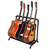 Folding Multi-Guitar Display Rack 5 Guitar Stand Multi-Instrument Floor Stand Guitar Rack Holder Stand Accessories for Home or Studio - Keeps Musical Instruments Safe,5 Guitar Stand