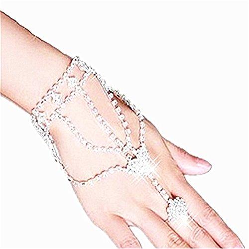 Homiki Juego de joyas de mano para mujer. Vogue cristal novia, bodas....