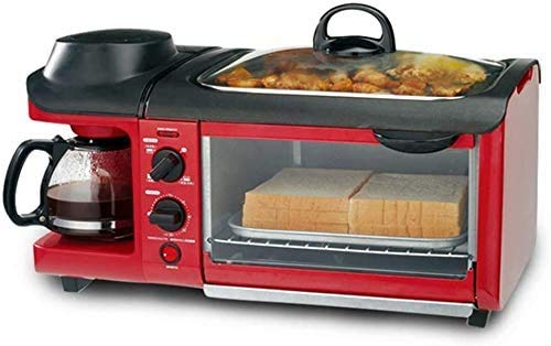 KaiKai Multi-Función Horno eléctrico de Tres-en-uno Desayuno Pequeña máquina de café de la máquina automática tostadora eléctrica sartén Sandwich Tostador Mini Horno lxhff
