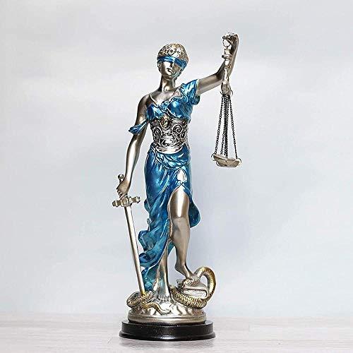 ZHIFENGLIU Escultura Griega de Themis Estatua de la Dama ciega de la Justicia Estatuilla Estatuas de la Diosa Justa Escultura de la Diosa Justitia para la decoración del hogar Oficina de Regalos