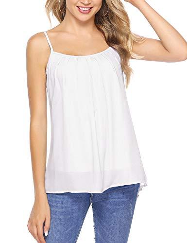 Aibrou Mujer Camiseta sin Mangas de Chaleco, Camisa Suelta Floja Ocasional Verano Blusa con Cuello Redondo