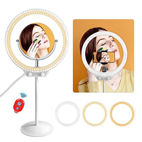 MOUNTDOG 10'' Desktop LED Ring Light with Makeup Mirror,Phone Holder,Soft Tube Stand,Dimming 3 Lighting Modes Camera Ring Make Up Light for YouTube,Facebook,Living Stream, Self-Portrait Shooting