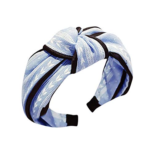 Dorical Haarband Yoga Headband Hairband Damen Stoff Haarreif mit Schleife-Vintage-Wunderschön Stirnband,Haarschmuck Haarreif mit Schleife-Vintage-Wunderschön Stirnband (One Size, Z001-Blau)