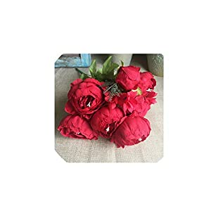 Simulation Bunch Artificial Flowers for Home Table Wedding Decoration Flores Artificiales Silk White Peonies Fake Flower,Red