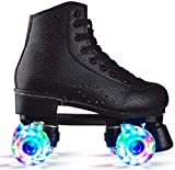 Unisex Fashion Pu Leather High-Top Roller Skates for Girls Boys Flash Four Wheels Roller Skates for Beginners with Shoes Bag (Black with Light,8.5)