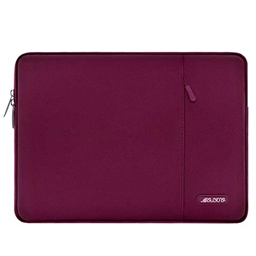 MOSISO Laptop Sleeve Bag Compatible with MacBook Air 13 inch 2018-2021 A2337 M1 A2179 A1932, MacBook Pro A2338 M1 A2289 A2251 A2159 A1989 A1706 A1708, Polyester Vertical Case with Pocket, Wine Red