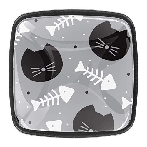 4 pomos de cristal para puerta de armario y cajón, diseño de gato negro y hueso de pez blanco 01
