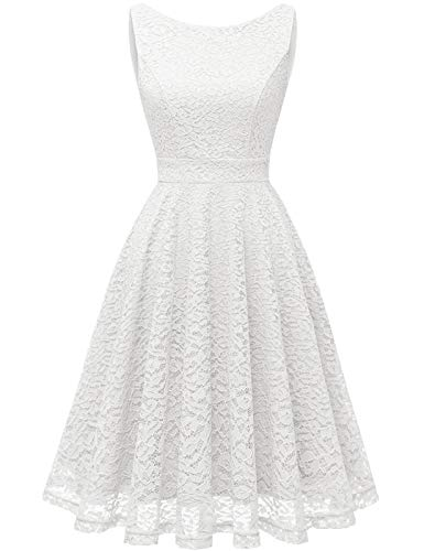 Bbonlinedress Kleid Damen cocktailkleid Gelb Damen Rockabilly Kleider Damen Kleider Hochzeit Abendkleider lang Geschenk für Frauen Petticoat Kleid White 2XL