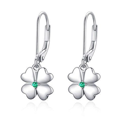 Kleeblatt Ohrringe Silber 925 Ohrringe Mädchen Kleeblatt Creolen Ohrringe für Kinder