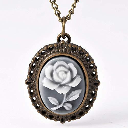 Reloj de bolsillo de trompeta Antena Bronce Oval Flor Negro Rosa Rosa Reloj de bolsillo Accesorios de ropa