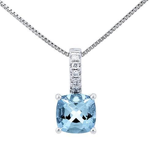Gin & Grace 925 plata esterlina colgante genuino Aguamarina Diamante para la Mujer