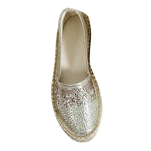 Xinwcang Damen Pailletten Freizeitschuhe, Espadrilles Flache Schuhe Freizeit Bequeme Slip Ons Moderne Sneaker Slipper Asia 37