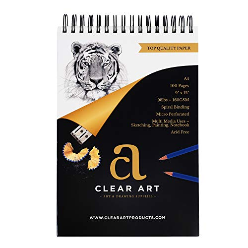 """100 Sheet Sketchpad - Drawing Pad - Sketchbook for Art - Spiral Bound - 9' x 12"""" - A4 - 98LB – 160GSM - Sketching - Watercolor – Acrylics – Notebook - Mixed Media Paper - Acid Free"""