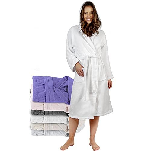 Twinzen Bademantel Damen - M - Weiß - 100% Baumwolle (350g/m²) OEKO-TEX® Zertifiziert - Bademantel mit Kapuze, 2 Taschen, Gürtel