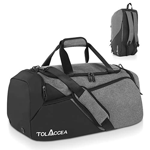 Tolaccea 47L Sports Bag Large Sports Bag Backpack with Shoe Compartment Wet Compartment Weeks Travel Duffel Bag Fitness Training Bag for Men Women Gym Travel Swimming Sauna Football