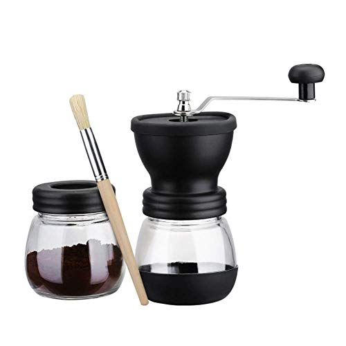 YWT Manual Coffee Grinder, Tapered Ceramic Burr, Adjustable Precision Hand Brewing, Quiet Grinding, Stainless Steel Handle and Silicone Cover, Black