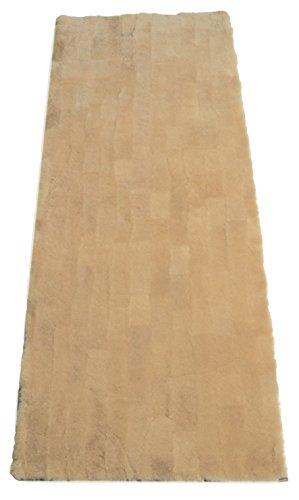 Leibersperger Lammfell-Teppich echtes Schaffell | Wohnzimmer Schlafzimmer Kinderzimmer | Bett-Vorleger oder Matte für Stuhl Sofa Grau 150 x 60 cm Patchwork (Sekt)