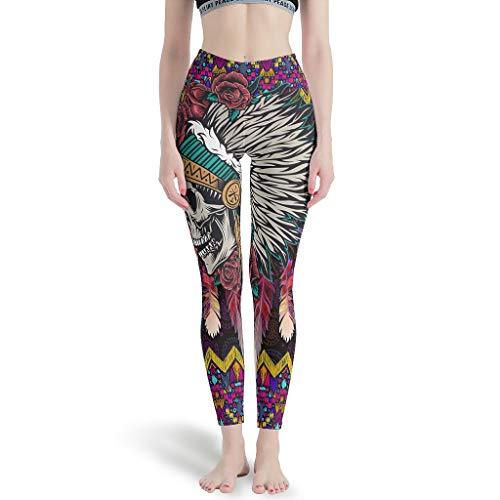 O5KFD&8 Leggings de fitness para mujer, diseño de calavera americana, color blanco, talla M