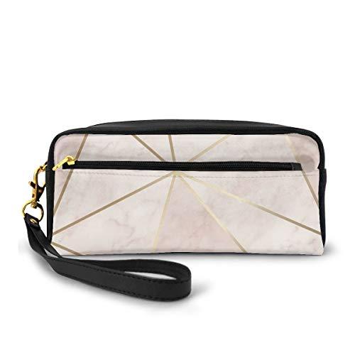 Federmäppchen Zara Shimmer Metallic Soft Pink Gold Stifttasche Make-up Tasche Portemonnaie Große Kapazität Wasserdicht für Studenten oder Frauen