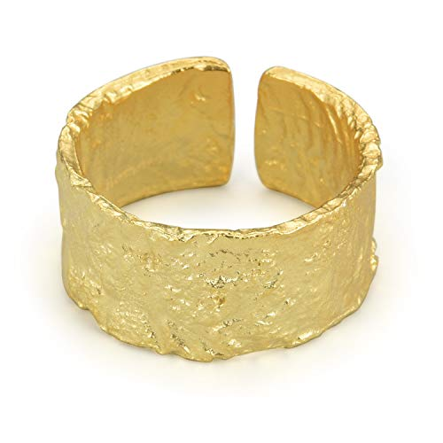 Springlight S925 Sterling Silber Gold Ring Silber Breit Ringe Unregelmäßige Oberfläche Gold Silberfolie Breiter Ring öffnen Ringe Verstellbar Silber Geschenke für Frauen. (Gold)