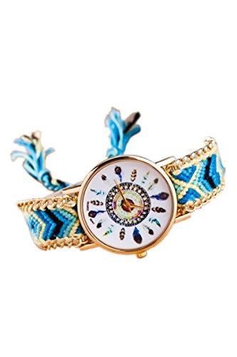 SODIAL Orologio da polso con bracciale intrecciato a catena dorata da donna Colore No.5