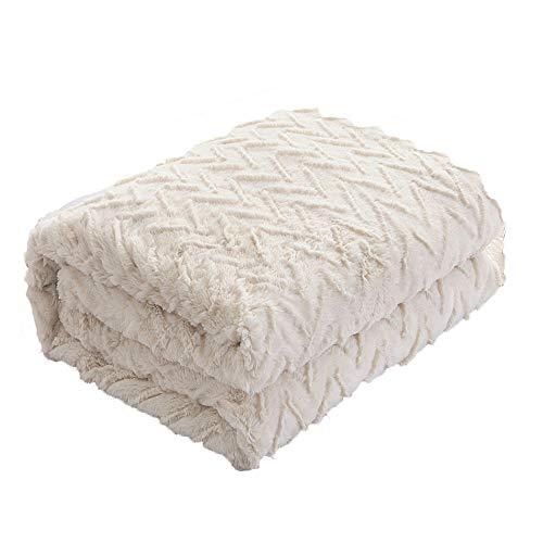 NBWS Luxury Faux Fur Long Shaggy Striped Blanket de Alcance cálido Elegante Cozy with Fluffy Blanket Bedspread Bed Chair or sofá Companion 130x 155cm
