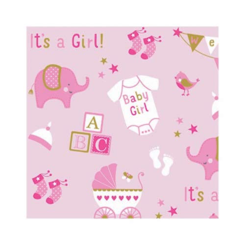 Amscan Party Supplies Printed Jumbo Baby Girl Elephant Gift Wrap, 16' x 30', Multi