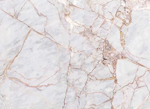 Livingwalls Fototapete Designwalls Vliestapete Gray Light Marble Tapete in Marmor Optik in Gold, Grau, Kupfer 350 x 255 cm XXL Wandtapete Wandbild 118760