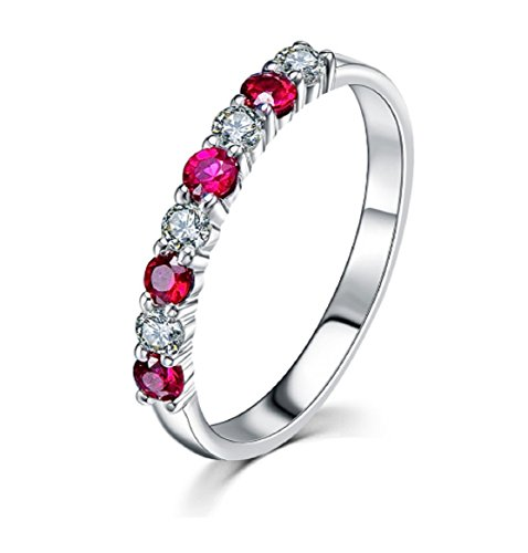 GOWE Real 14 K oro blanco Mujeres Anillos De Compromiso Con Diamantes naturales Rubies Fine Jewelry