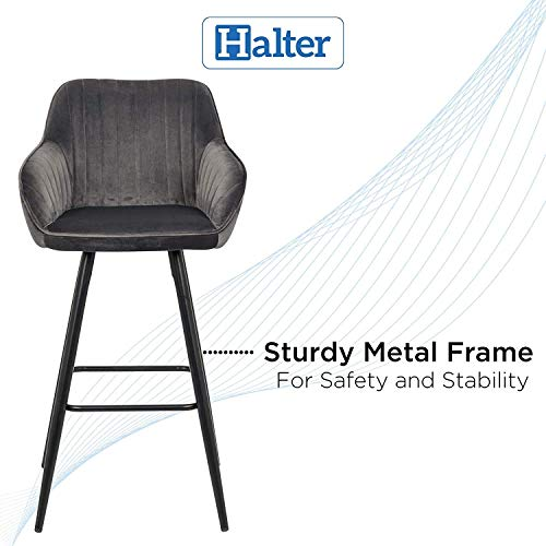 Halter Bar Stool with Back Support and Footrest, Upholstered Modern Bar Stools for Kitchen Counter, Plush Grey Fabric and Black Metal Frame, Kitchen Stools for Island or Counter, 40 Inch, (2 Pack).